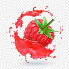 Raspberry in berry juice splash. Vector illustration