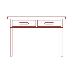 desk table with drawers front view in dark red contour