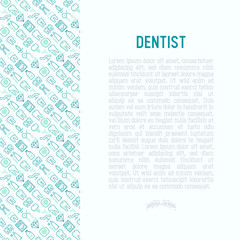 Dentist concept with thin line icons of tooth, implant, dental floss, crown, toothpaste, medical equipment. Modern vector illustration for banner, web page, print media.