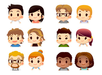 Vector set of male and female characters in different race, nation isolated on white background.