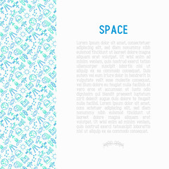 Space concept with thin line icons: rocket, Earth, lunar rover, space station, teelscope, alien, meteorite. Modern vector illustration for banner, print media, web page.