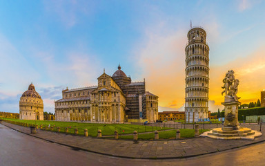 Pisa Cathedral with Leaning Tower of Pisa on Piazza dei Miracoli in Pisa, Tuscany, Italy.