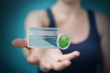 Businesswoman using credit card to pay online 3D rendering