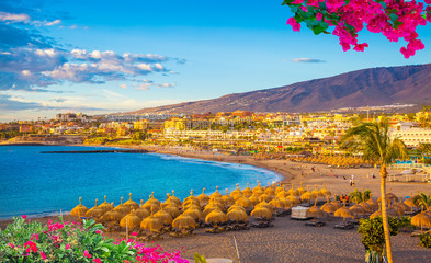 Photo sur Aluminium Iles Canaries Beautiful landscape of famous Torviscas beach in summer holiday in Tenerife, Canary island, Spain