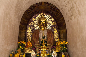 Buddha beautiful Enshrined in ancient Buddhist temple