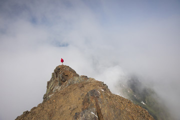 High angle view of man standing on Cheam Peak against cloudy sky