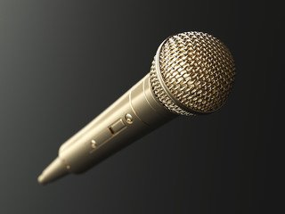 Golden microphone on matte background concept. 3d render