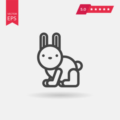 Rabbit Icon in trendy flat style isolated on grey background. Ve