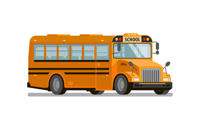Yellow school bus. Transportation of students and pupils. Vector illustration
