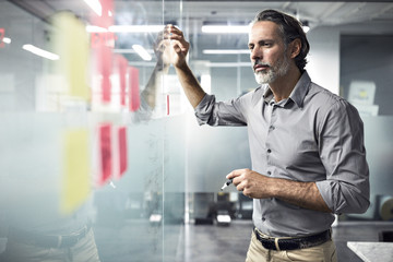 Businessman looking at adhesive notes on window in office
