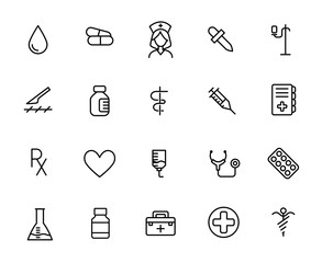 Simple collection of vaccination related line icons.
