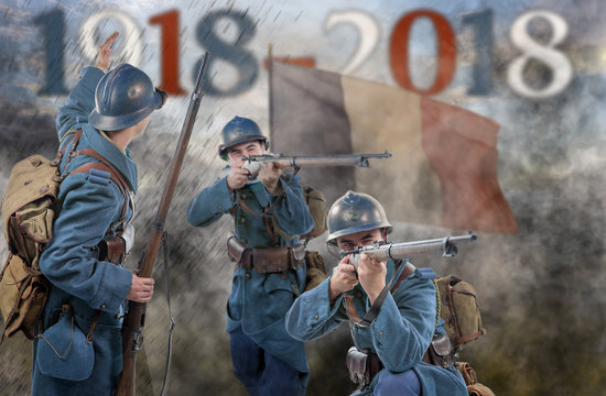French soldiers 1914 1918 attack, November 11th