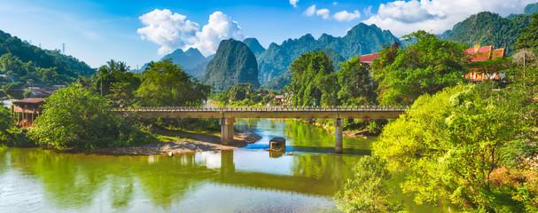 Amazing landscape of river among mountains. Laos. Panorama