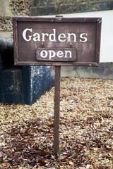 Gardens Open Wooden Sign