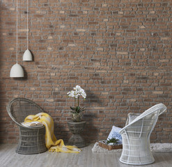brick wall interior concept wicker chair and blanket style