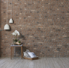modern brick wall background coffee table and home design