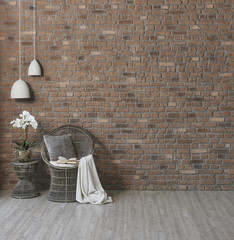 new brick wallpaper wicker chair and lamp style wicker coffee table