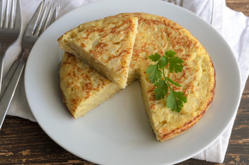Traditional Spanish tapas or snack. Tortilla, Spanish omelette made with eggs and popatoes.