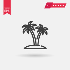 Tropical island icon. Travel trip symbol. Palm Tree sign isolate