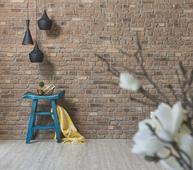 blue chair with flowers concept brick wall background