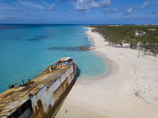 Wall Mural - Aerial view of shipwreck and beach in Grand Turk island