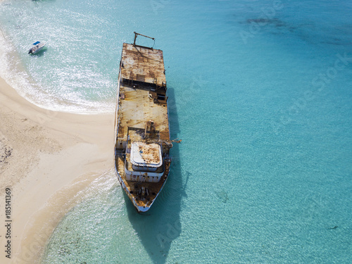 Wall mural Aerial view of shipwreck in Grand Turk island.