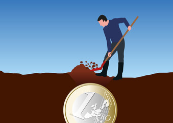 trésor -creuser - richesse - concept - riche - succès - réussite - finance - financer - fortune - enterrer