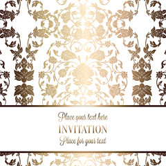 Intricate baroque luxury wedding invitation card, rich gold decor on beige background with frame and place for text, lacy foliage with shiny gradient