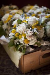 High angle view of bunch of flowers in container at wedding ceremony