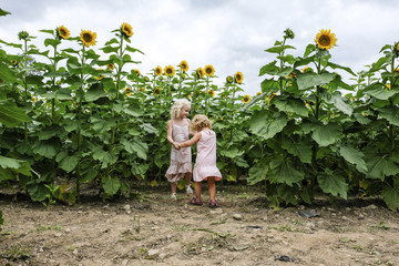 Sisters holding hands while playing against sunflower field