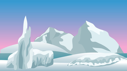 Vector winter landscape for cartoon or game scene background.