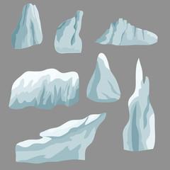 Set of ice rocks. Elements to create winter landscape scene