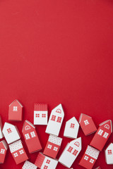 Collection of red and white house on a red background