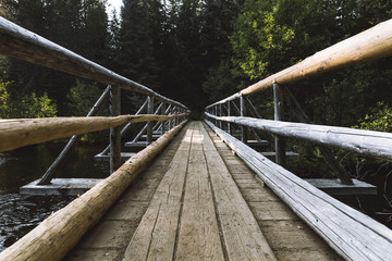 View of wooden footbridge at Mount Hood National Forest