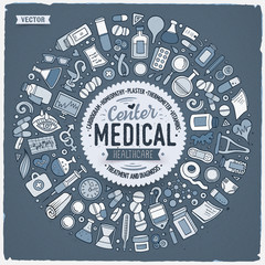 Vector set of Medical cartoon doodle objects