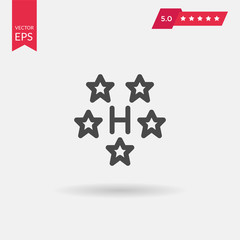 Five stars hotel icon. Travel rest place symbols. Human sleep in