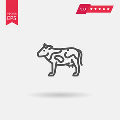Cow flat icon. Single high quality outline symbol of animal for