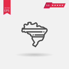 Map of Brazil. Simple flat vector icon.