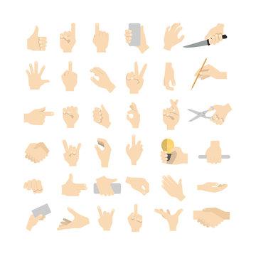 Hand gestures set.
