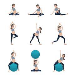 Pregnant exercises set.