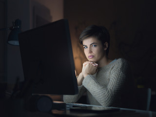 Woman connecting at night