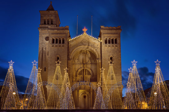 View of Parish Church of St Peter's Chains in Birzebbuga, Malta with Christmas decorations and Lights on the night sky background