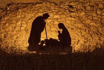 Christmas installation on the theme of the birth of Jesus Christ, shadow and silhouette