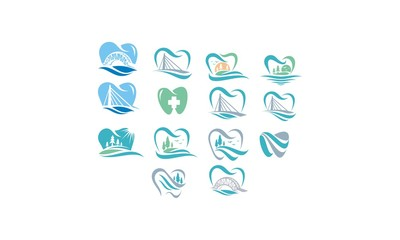 tooth emblem symbol icon vector logo