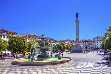 Column Pedro IV Fountain Rossio Square Lisbon Portugal