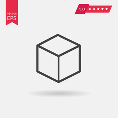 Cube icon vector illustration. Linear symbol with thin outline.