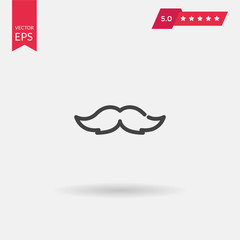 Mustache icon. Simple flat logo of mustache and monocle on white
