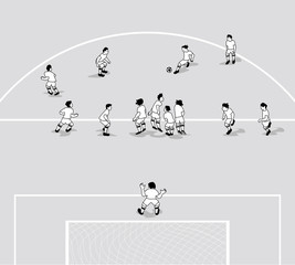 Vector illustration of Soccer wall. Free kick situation in flat design.
