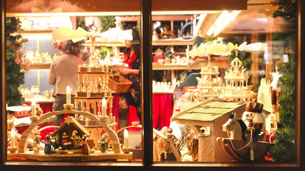 vintage toy store window shop christmas market background