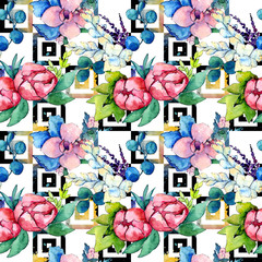 Flower composition in a watercolor style isolated. Full name of the plant:  peony,orchid. Aquarelle wild flower for background, texture, wrapper pattern, frame or border.